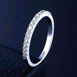NEW 925 Sterling Silver Dainty Diamond Band Ring…